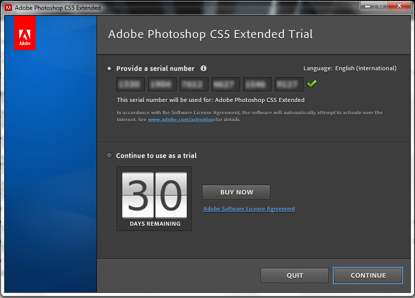 Adobe Photoshop CS5 trial image