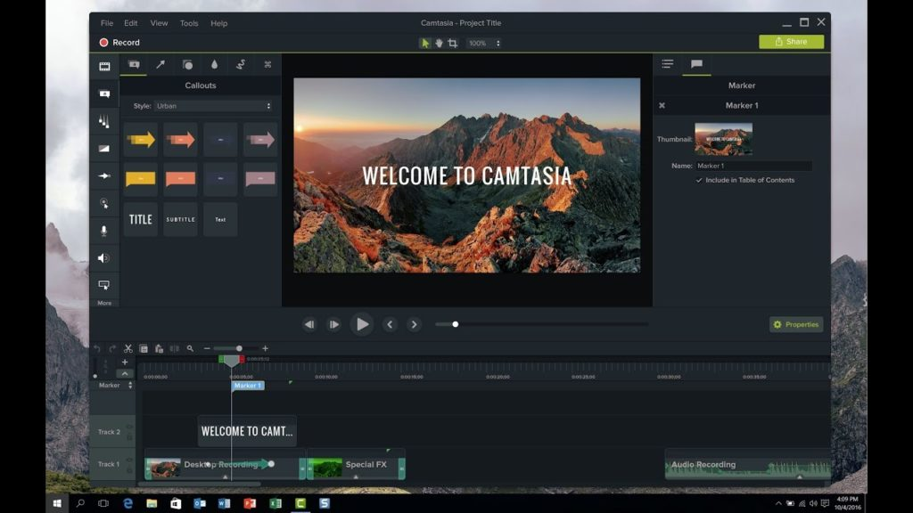Camtasia Studio 9 ready screen