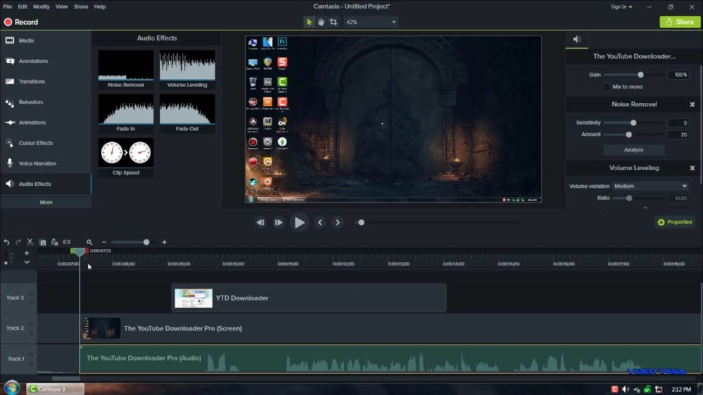 Camtasia Studio 9 workgin screen
