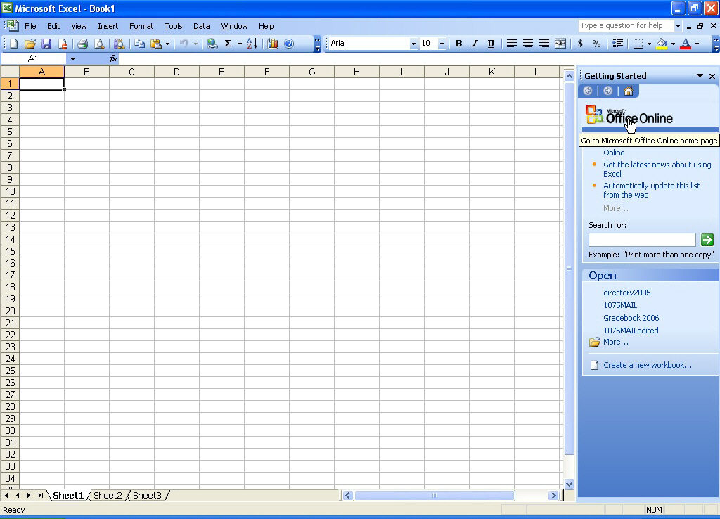 Microsoft Office 2003 excel work