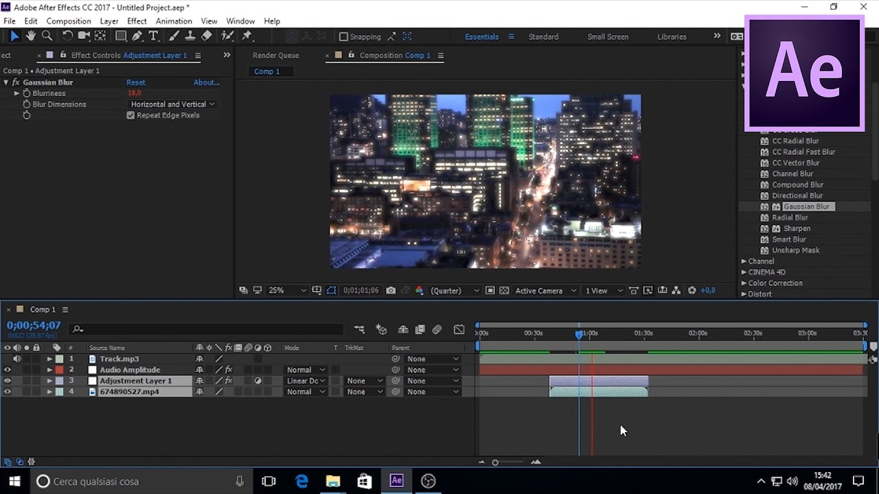 Adobe After Effects CC 2017 editing in progress