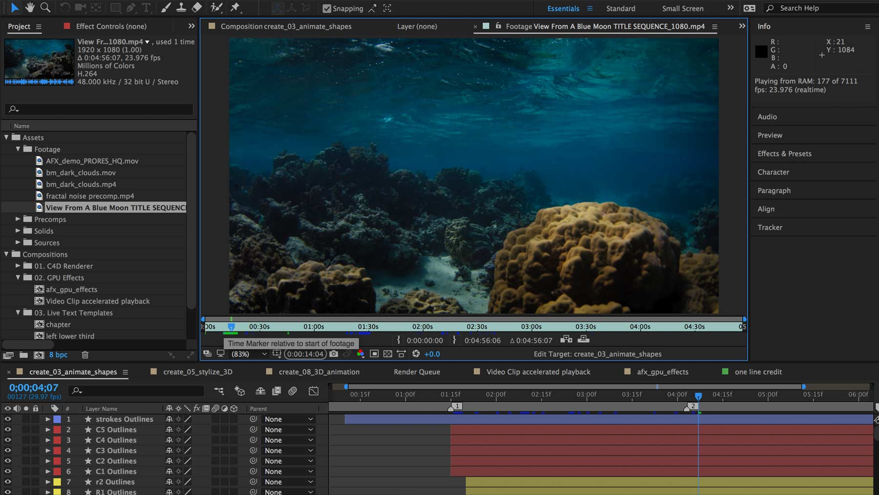 Adobe After Effects CC 2017 ocean editing