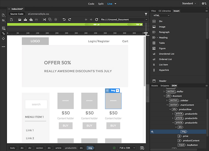 Adobe Dreamweaver CC 2018 web preview