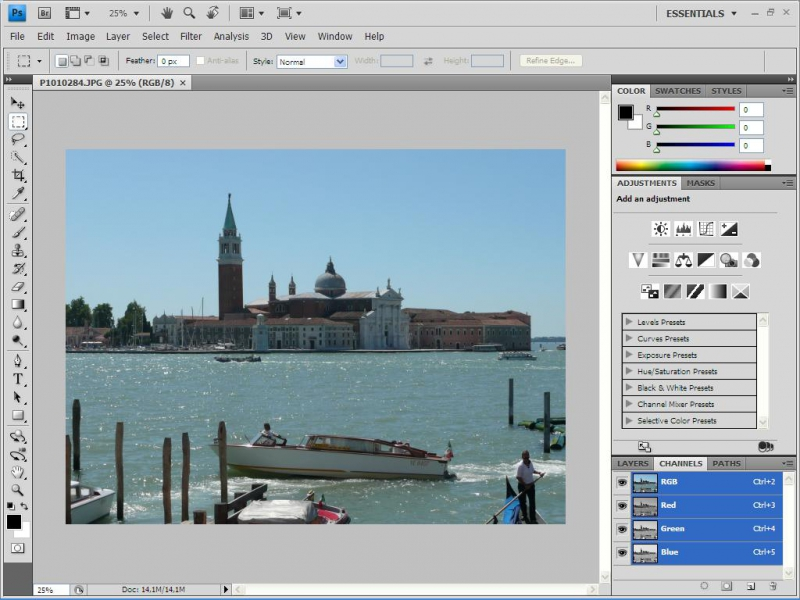 Adobe Photoshop CS4 historical place editing