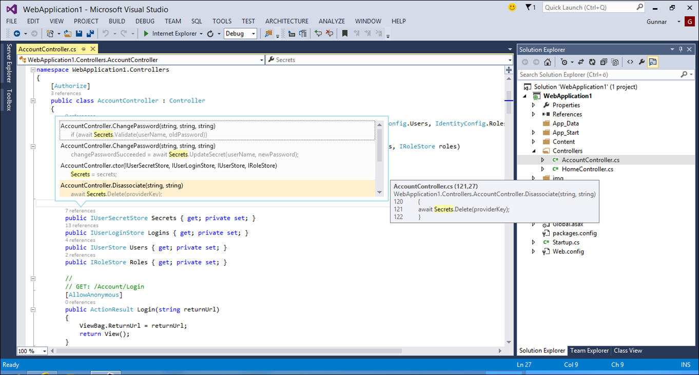 Visual Studio 2013 ASP coding