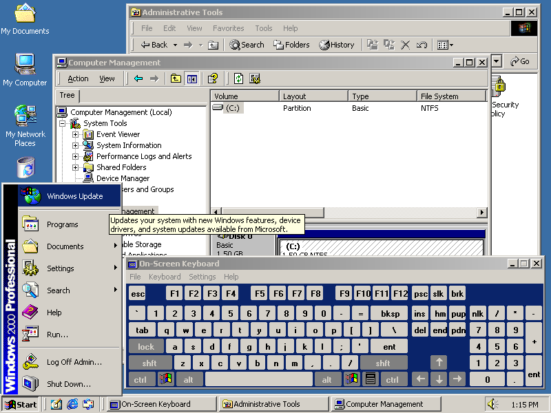 Windows 2000 desktop with application running
