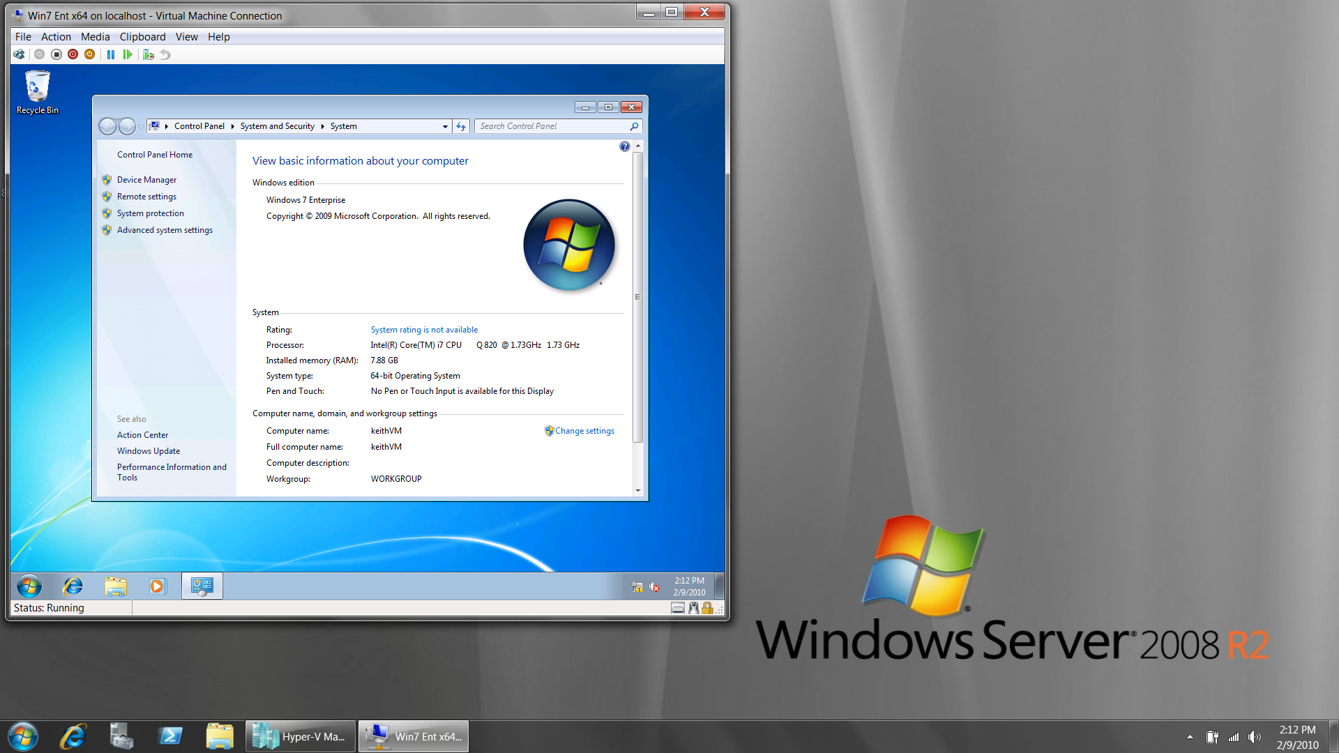 Windows Server 2008 R2 desktop screen