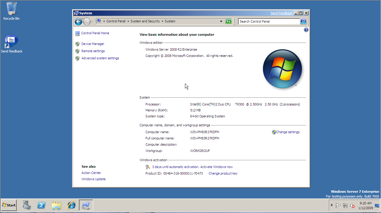Windows Server 2008 R2 properties window