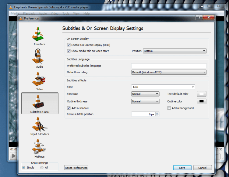 VLC 2.2.8 setting page