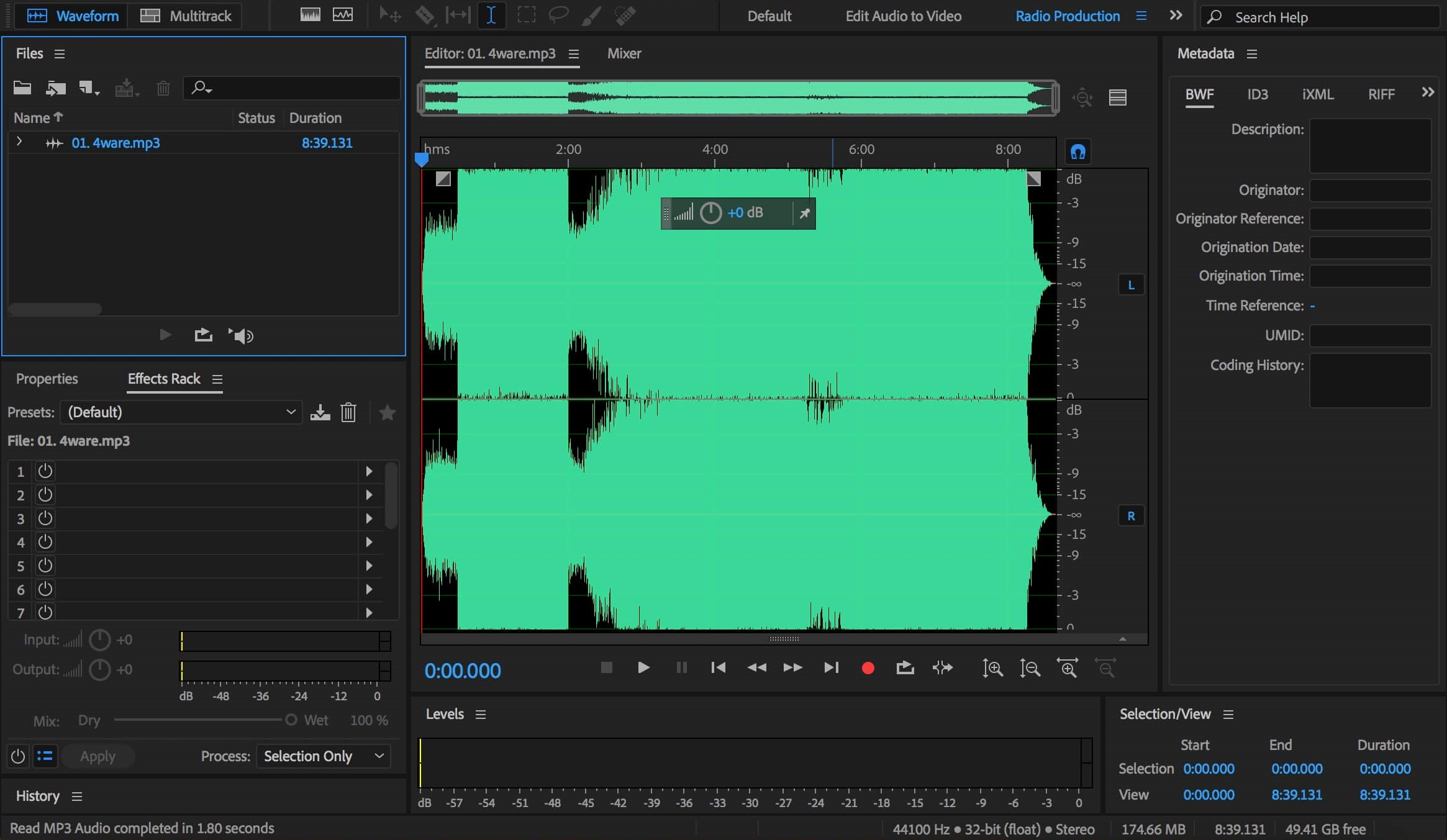 Adobe Audition CC 2018 multiple audio work