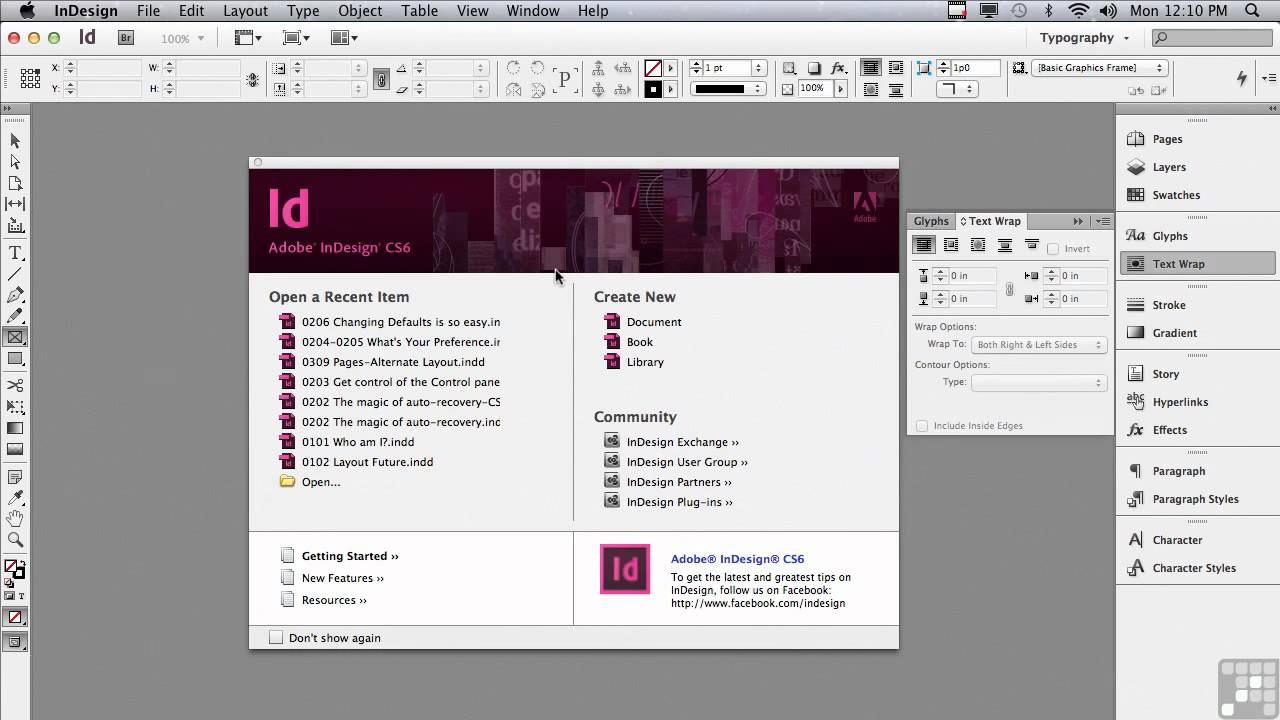 Adobe InDesign CS6 starting screen