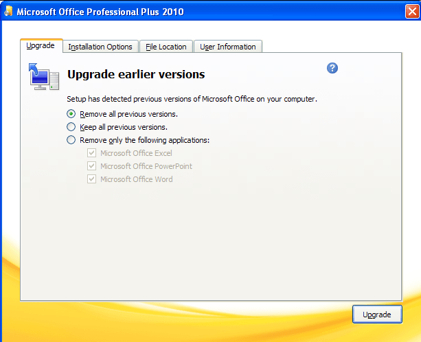 Microsoft Office 2010 Professional Plus upgrade options
