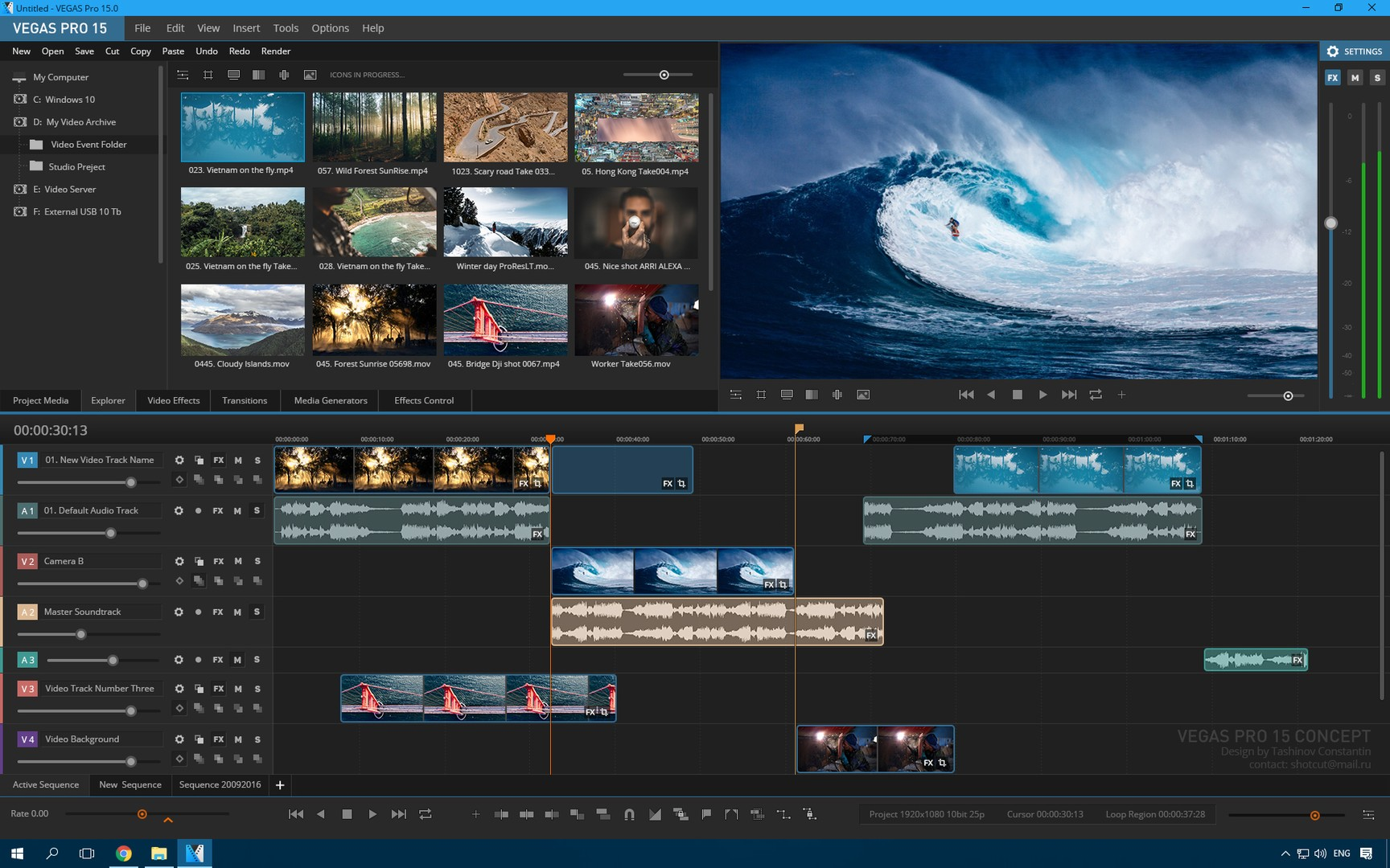 Sony Vegas Pro 15 mountains editing