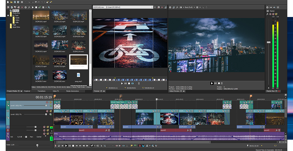 Sony Vegas Pro 15 road art editing