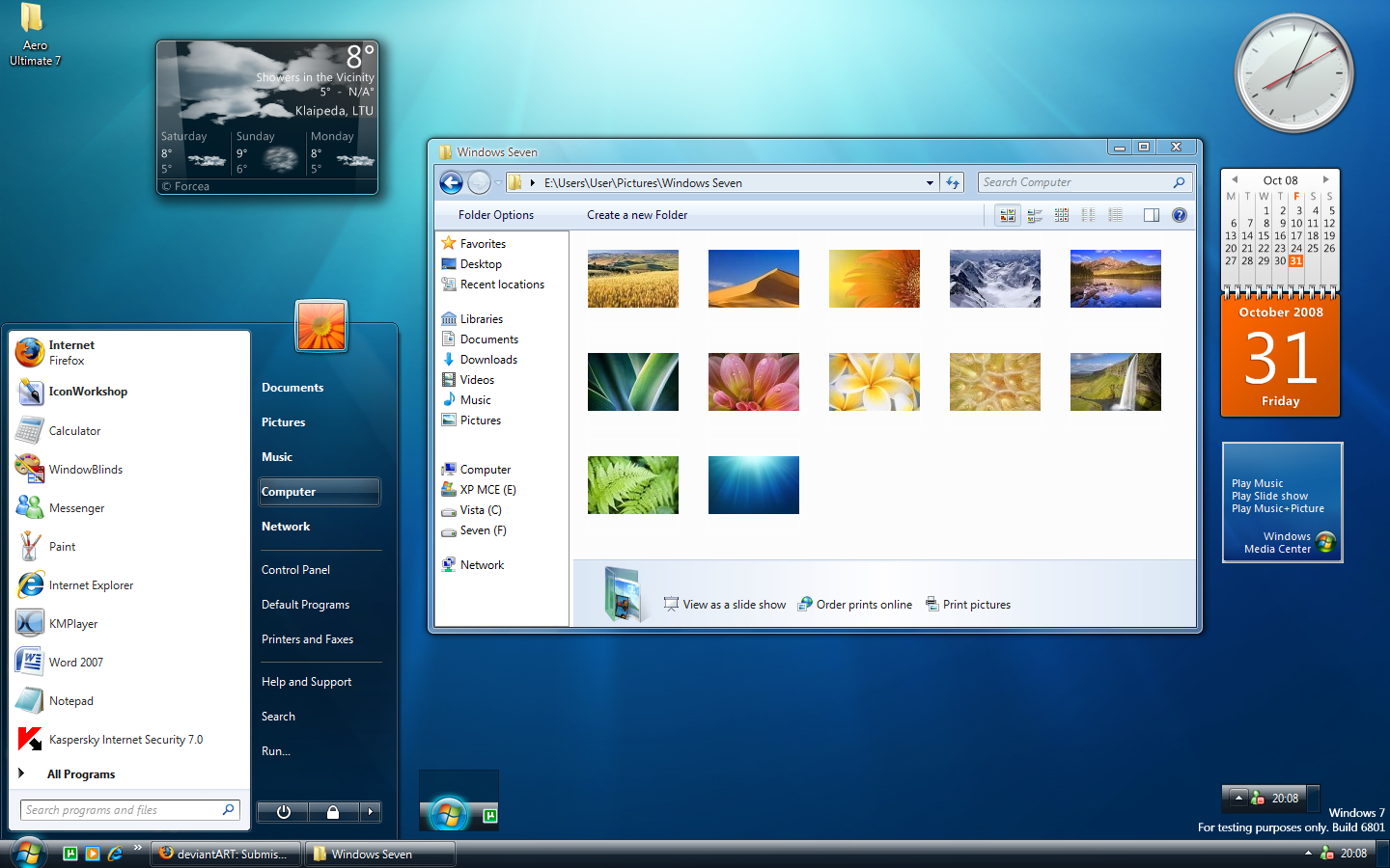 windows 7 ultimate widgets and start menu